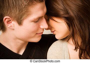 coppia, amore, giovane