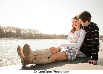 coppia, amore, giovane, insieme