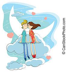 coppia, amore, nuvola