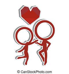 coppia, amore, silhouette, figura, bastone