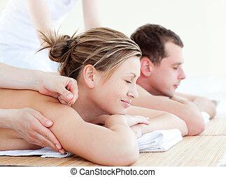 coppia amorosa, detenere, un, acupunctre, terapia