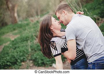 coppia amorosa, in, natura