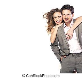 coppia amorosa, ridere, e, proposta