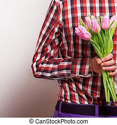 coppia amorosa, -, uomo, con, rosa, attesa, suo, woman., giorno valentine
