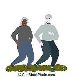 coppia anziana, correndo, insieme