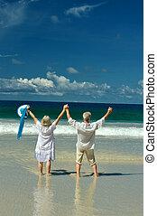 coppia anziana, spiaggia, rivestimento mare