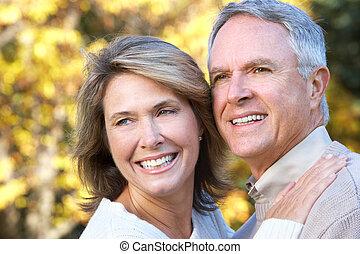 coppia, anziano, felice