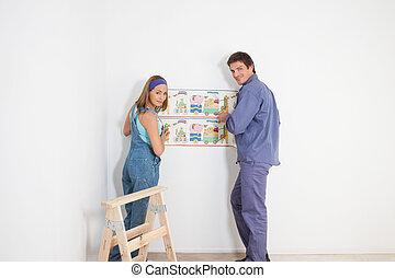 coppia, appendere, carta da parati
