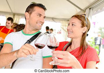 coppia, assaggio, insieme, vino