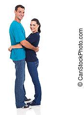 coppia, attraente, abbracciare, giovane
