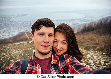 coppia, autoritratto, amore, presa