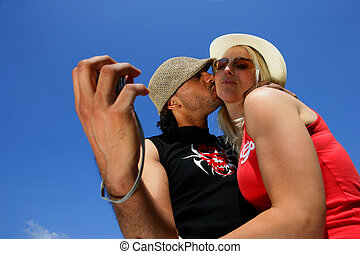coppia, autoritratto, spiaggia, presa