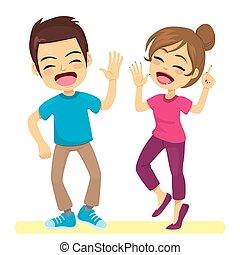 coppia, ballerini, strada