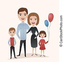 coppia, bambini, famiglia, felice