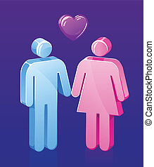 coppia, bastone, amare
