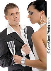 coppia, bere, champagne