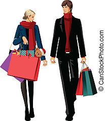 coppia, borse, shopping