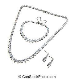 coppia, braccialetto, isolato, cristallo, pendente, orecchini, bianco