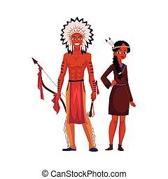 coppia, breechcloth, tradizionale, indiano americano, pelle ...