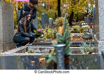 coppia, cadere, dolore, cimitero