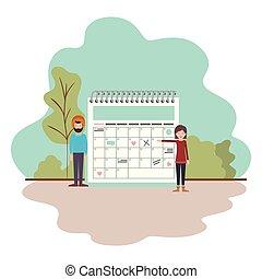 coppia, calendario, paesaggio, promemoria
