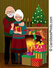 coppia, caminetto, anziano