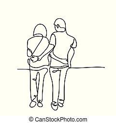 coppia camminando, giovane, insieme