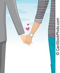coppia camminando, tenere mani