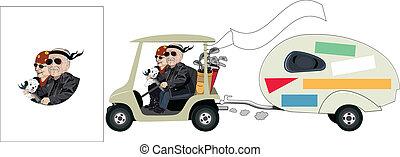 coppia, carrello, anziano, cartone animato, golf