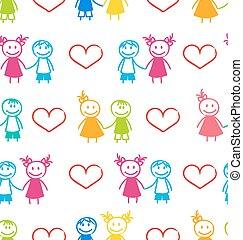 coppia, carta da parati, seamless, romantico