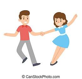 coppia, cartone animato, ballo