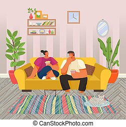 coppia, casa, vettore, popcorn, vita, giovane