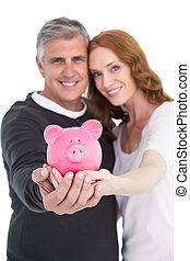 coppia, casuale, loro,  piggy, esposizione, banca