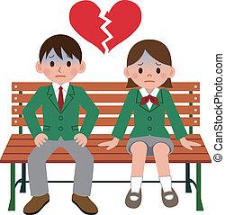 coppia, catastrofe, studente
