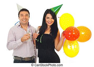 coppia, celebrare, anno nuovo, insieme