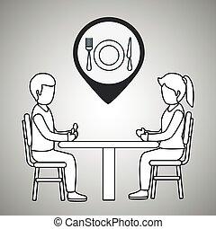 coppia, cena, seduta