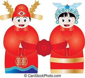 coppia, cinese, illustrazione, matrimonio