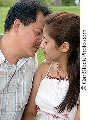 coppia, circa, bacio