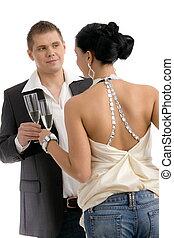 coppia, clinking, con, champagne