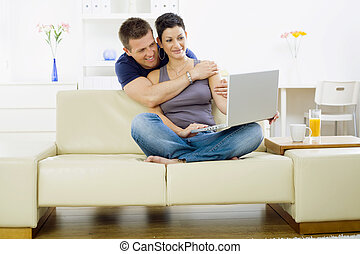 coppia, computer, giovane