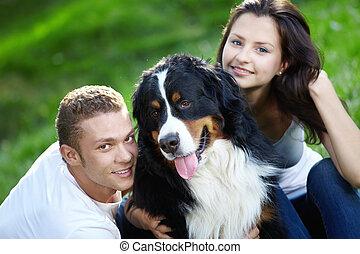 coppia, con, cane