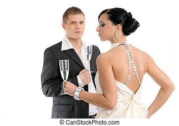coppia, con, champagne