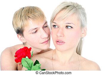 coppia, con, fiore