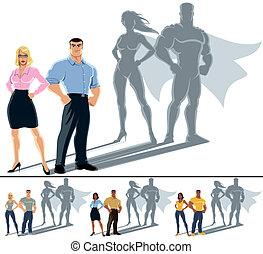 coppia, concetto, superhero