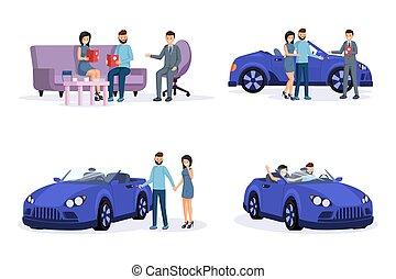 coppia, condotta, acquisto, vendita dettaglio, commesso, clienti, nuovo, passi, illustrazioni, sorridente, giovane, guida, characters., set., acquisto, affare, cartone animato, processo, automobile, agente, consulente, automobile