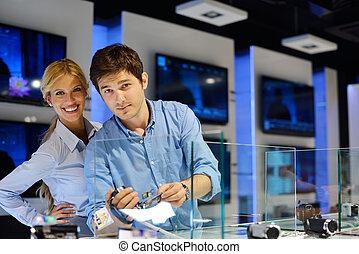 coppia, consumatore, giovane, negozio, elettronica