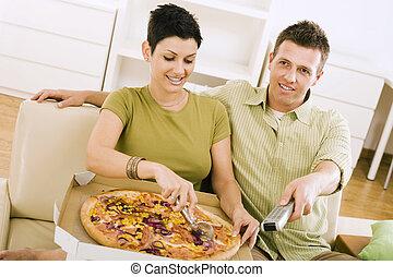 coppia, consumo pizza