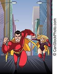 coppia, correndo, superhero, eroe, piombi