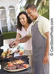 coppia, cottura, barbeque