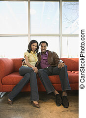 coppia, couch., seduta